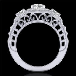 2.16 CTW VS/SI Diamond Solitaire Art Deco 3 Stone Ring 18K White Gold - REF-298X5T - 36968