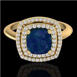 2.52 CTW Sapphire & Micro VS/SI Diamond Pave Halo Ring 18K Yellow Gold - REF-77A3X - 20769