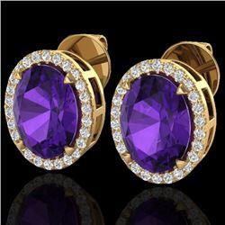 5.50 CTW Amethyst & Micro VS/SI Diamond Halo Earrings 18K Yellow Gold - REF-63W3F - 20238