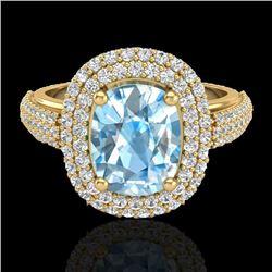 3.50 CTW Topaz & Micro Pave VS/SI Diamond Halo Ring 10K Yellow Gold - REF-94X9T - 20710