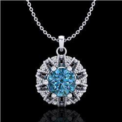 1.2 CTW Fancy Intense Blue Diamond Art Deco Stud Necklace 18K White Gold - REF-118A2X - 37740