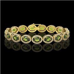 21.71 CTW Tourmaline & Diamond Halo Bracelet 10K Yellow Gold - REF-338Y9K - 40624