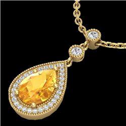 2.25 CTW Citrine & Micro Pave VS/SI Diamond Necklace 18K Yellow Gold - REF-46Y2K - 23132