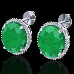 25 CTW Emerald & Micro Pave VS/SI Diamond Halo Earrings 18K White Gold - REF-254W5F - 20270