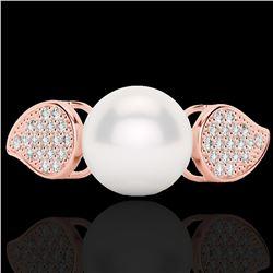 0.27 CTW Micro Pave VS/SI Diamond & Pearl Designer Ring 14K Rose Gold - REF-39W3F - 22644