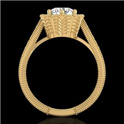 1.33 CTW VS/SI Diamond Solitaire Art Deco Ring 18K Yellow Gold - REF-418M2H - 37105