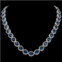 44.8 CTW London Topaz & Diamond Halo Necklace 10K White Gold - REF-625H3A - 41222