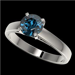 1.22 CTW Certified Intense Blue SI Diamond Solitaire Engagement Ring 10K White Gold - REF-147N8Y - 3