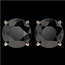 4.19 CTW Fancy Black VS Diamond Solitaire Stud Earrings 10K Rose Gold - REF-82F6N - 36712