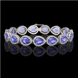 21.06 CTW Tanzanite & Diamond Halo Bracelet 10K White Gold - REF-532N4Y - 41243