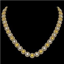 31.64 CTW Canary Yellow & White Diamond Designer Necklace 18K Yellow Gold - REF-4472M8H - 42598