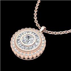 2.11 CTW VS/SI Diamond Solitaire Art Deco Stud Necklace 18K Rose Gold - REF-309T3M - 37086