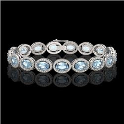 24.32 CTW Sky Topaz & Diamond Halo Bracelet 10K White Gold - REF-248F9N - 40631