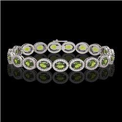 13.87 CTW Tourmaline & Diamond Halo Bracelet 10K White Gold - REF-271W6F - 40472
