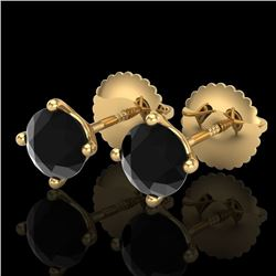 1.01 CTW Fancy Black Diamond Solitaire Art Deco Stud Earrings 18K Yellow Gold - REF-40T2M - 38229