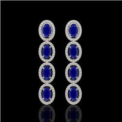 6.47 CTW Sapphire & Diamond Halo Earrings 10K White Gold - REF-109T5M - 40508