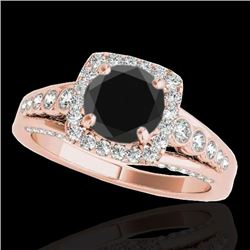 2 CTW Certified VS Black Diamond Solitaire Halo Ring 10K Rose Gold - REF-101H3A - 34323