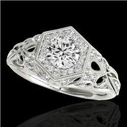 1.4 CTW H-SI/I Certified Diamond Solitaire Antique Ring 10K White Gold - REF-245N5Y - 34175