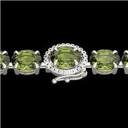 17.25 CTW Green Tourmaline & VS/SI Diamond Tennis Micro Halo Bracelet 14K White Gold - REF-172W8F -