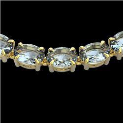 45 CTW Aquamarine Eternity Designer Inspired Tennis Necklace 14K Yellow Gold - REF-418F5N - 23400