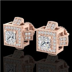 1.73 CTW Princess VS/SI Diamond Micro Pave Stud Earrings 18K Rose Gold - REF-254W5F - 37185