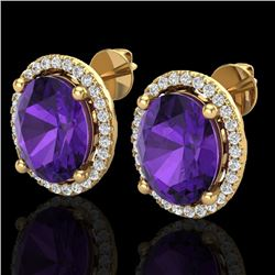 5 CTW Amethyst & Micro Pave VS/SI Diamond Earrings Halo 18K Yellow Gold - REF-76F4N - 21043