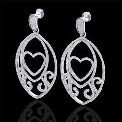 3.20 CTW Micro Pave VS/SI Diamond Designer Heart Earrings 18K White Gold - REF-252H2A - 22584