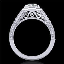 0.84 CTW VS/SI Diamond Solitaire Art Deco Ring 18K White Gold - REF-236W4F - 37091