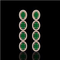 6.47 CTW Emerald & Diamond Halo Earrings 10K Rose Gold - REF-114W2F - 40503