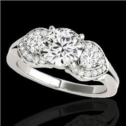 1.45 CTW H-SI/I Certified Diamond 3 Stone Ring 10K White Gold - REF-180F2N - 35331