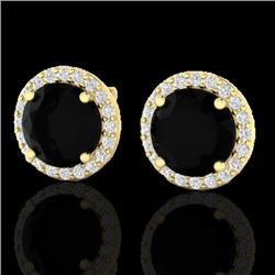 4 CTW Halo Black VS/SI Diamond Micro Pave Earrings 18K Yellow Gold - REF-122A5X - 21481