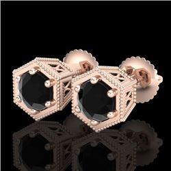 1.15 CTW Fancy Black Diamond Solitaire Art Deco Stud Earrings 18K Rose Gold - REF-68K2W - 38039