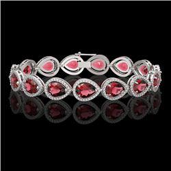 19.7 CTW Tourmaline & Diamond Halo Bracelet 10K White Gold - REF-391W5F - 41252