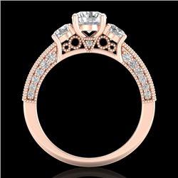 2.07 CTW VS/SI Diamond Solitaire Art Deco 3 Stone Ring 18K Rose Gold - REF-270W2F - 37017