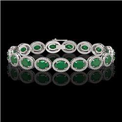 22.89 CTW Emerald & Diamond Halo Bracelet 10K White Gold - REF-291Y5K - 40601