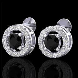 0.75 CTW Micro Pave VS/SI Diamond Earrings Halo 18K White Gold - REF-44N5Y - 20056