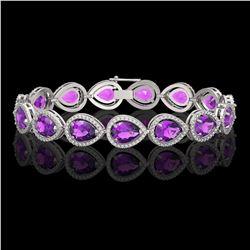 20.3 CTW Amethyst & Diamond Halo Bracelet 10K White Gold - REF-282Y9K - 41273