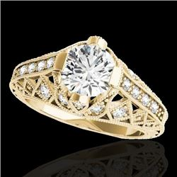 1.25 CTW H-SI/I Certified Diamond Solitaire Antique Ring 10K Yellow Gold - REF-207N3Y - 34686