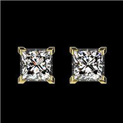 1 CTW Certified VS/SI Quality Princess Diamond Stud Earrings 10K Yellow Gold - REF-147F2N - 33065