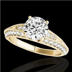 1.58 CTW H-SI/I Certified Diamond Solitaire Antique Ring 10K Yellow Gold - REF-172T8M - 34623