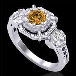1.01 CTW Intense Fancy Yellow Diamond Art Deco 3 Stone Ring 18K White Gold - REF-165N5Y - 37469