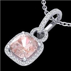 2.75 CTW Morganite & Micro VS/SI Diamond Halo Necklace 18K White Gold - REF-79M5H - 22986