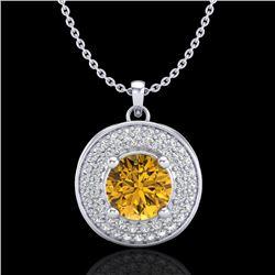 1.25 CTW Intense Fancy Yellow Diamond Art Deco Stud Necklace 18K White Gold - REF-161M8H - 38141