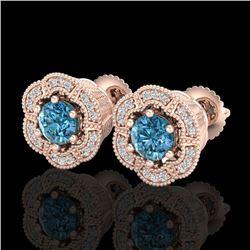 1.51 CTW Fancy Intense Blue Diamond Art Deco Stud Earrings 18K Rose Gold - REF-178H2A - 37965