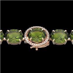 65 CTW Green Tourmaline & Micro VS/SI Diamond Halo Bracelet 14K Rose Gold - REF-593T8M - 22262