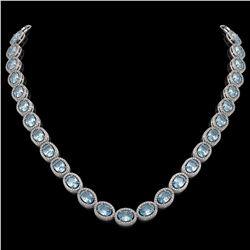 55.41 CTW Sky Topaz & Diamond Halo Necklace 10K White Gold - REF-636Y4K - 40583
