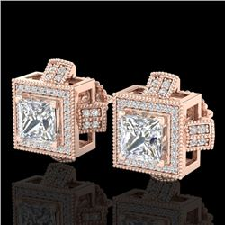 2.75 CTW Princess VS/SI Diamond Micro Pave Stud Earrings 18K Rose Gold - REF-684N3Y - 37188