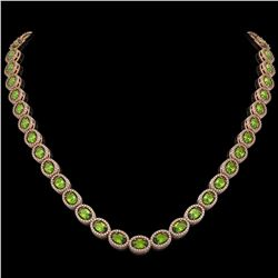 31.1 CTW Peridot & Diamond Halo Necklace 10K Rose Gold - REF-554T8M - 40428