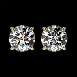 1.57 CTW Certified H-SI/I Quality Diamond Solitaire Stud Earrings 10K Yellow Gold - REF-183W2F - 366