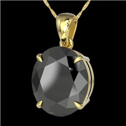 9 CTW Black VS/SI Diamond Designer Solitaire Necklace 18K Yellow Gold - REF-200Y5K - 21896